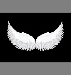realistic white angel wings vector image