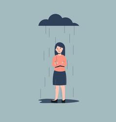 Sad woman line vector
