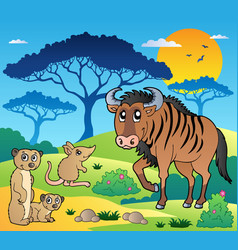 Savannah scenery with animals 3 vector