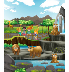 Scene with animals and happy children at zoo vector