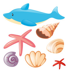 Sea set with dolphin and seashells vector