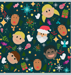 seamless pattern of happy cute christmas vector image