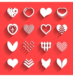 Set hearts with shadow vector