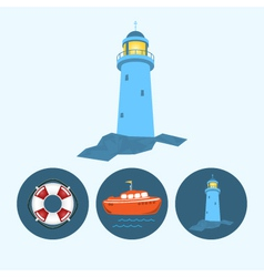 Set icons with boat lifebuoy lighthouse vector
