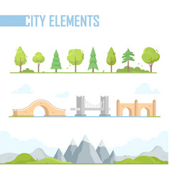 Set of city elements - modern cartoon vector