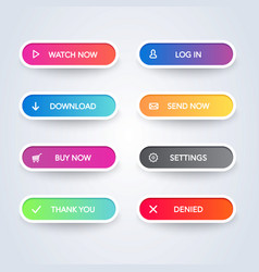 set of colorful modern style buttons vector image