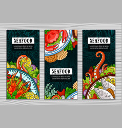 set of seafood vertical banners vector image