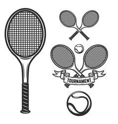 Set of tennis design elements for logo label vector