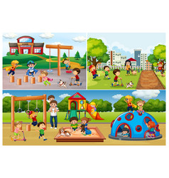 set people at park and playground vector image