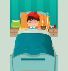 Sick kid resting vector