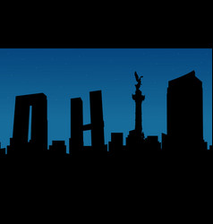 silhouette of city mexico building scenery vector image