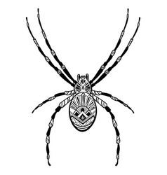 spider with patterns zentangle spider black vector image