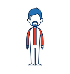 Standing man avatar people blue and orange cartoon vector