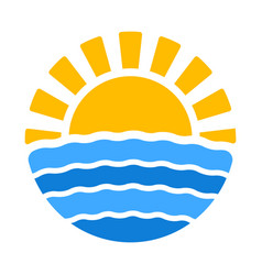 summer time icon with sun and sea vector image