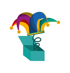 surprise box with harlequin hat isolated icon vector image