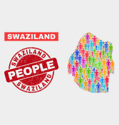 Swaziland map population demographics and unclean vector