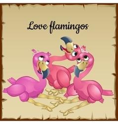 Three cute pink flamingos vector