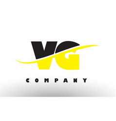 Vg v g black and yellow letter logo with swoosh vector