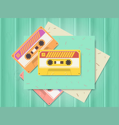 Vintage audio cassette music of the 80s and 90s vector
