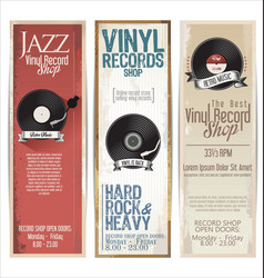 Vinyl record shop retro grunge banner 5 vector