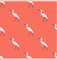 white heron seamless pattern with pink background vector image