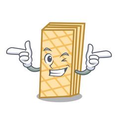 Wink waffle character cartoon style vector
