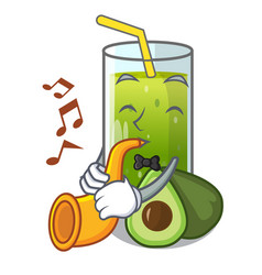 With trumpet avocado smoothies are isolated on vector