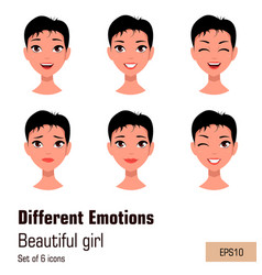 woman with different face expressions young vector image