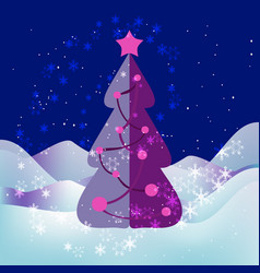 xmas tree starry night snowflakes and snowdrifts vector image