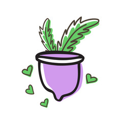 zero waste menstrual cup with leaves isolated on vector image