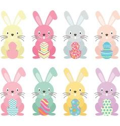 Easter bunnyEaster eggs set vector image