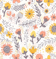 Field flowers doodle pattern vector image vector image