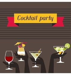 Party invitation with alcohol drinks and cocktails vector image