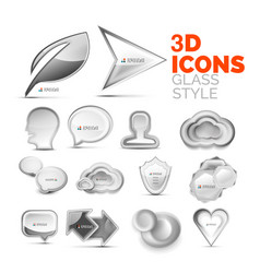 Set of 3d grey icons universal elements vector