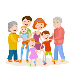 Cute cartoon family in colorful stylish clothes vector