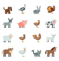 Domestic Animal Flat Icons Set vector image vector image