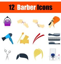 Flat design barber icon set vector image vector image
