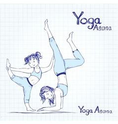 girl and woman doing yoga poses vector image