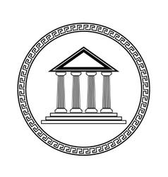 Greek Black Silhouette Temple vector image vector image