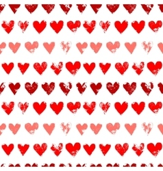 Red on white grunge hearts print seamless pattern vector image