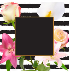 abstract frame with lily and rose flower natural vector image vector image