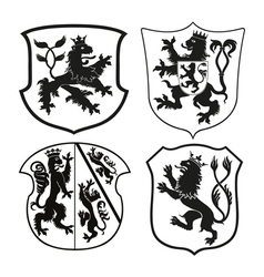 Heraldic lions on the shields vector image
