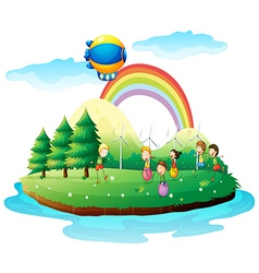 Kids playing in the ground vector image