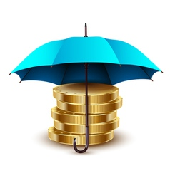 umbrella blue gold vector image vector image