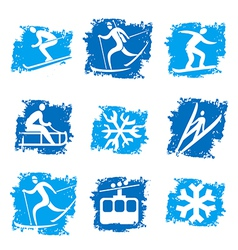 Winter sports grunge icons vector image
