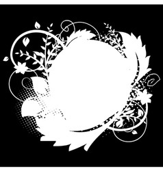 circle frame with floral decorations 1 on black vector image vector image