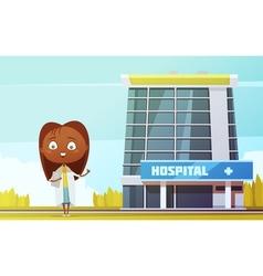 Female doctor cartoon figurine at city hospital vector