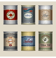 Food cans set vector image