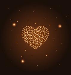 Golden heart from butterflies gold heart vector