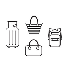 luggage icons in a simple style vector image vector image